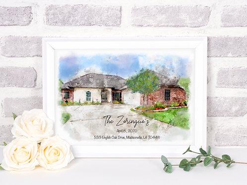 Custom Home Watercolor Print 8 x 10 Landscape on Paper
