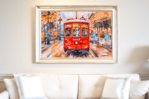 Red Vintage Streetcar 20 x 30 inches on Paper