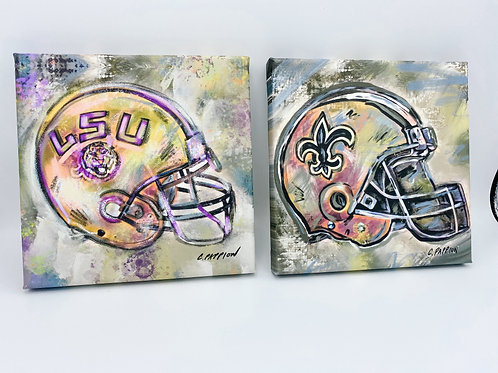 Set of Two 8 x 8 inch Sports Fan Canvases