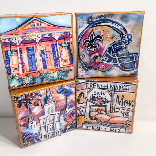 New Orleans Flavor Set of Four 4 x 4 inches canvas