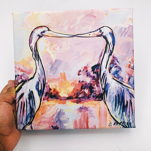 Kissing Egrets 8 x 8 inches