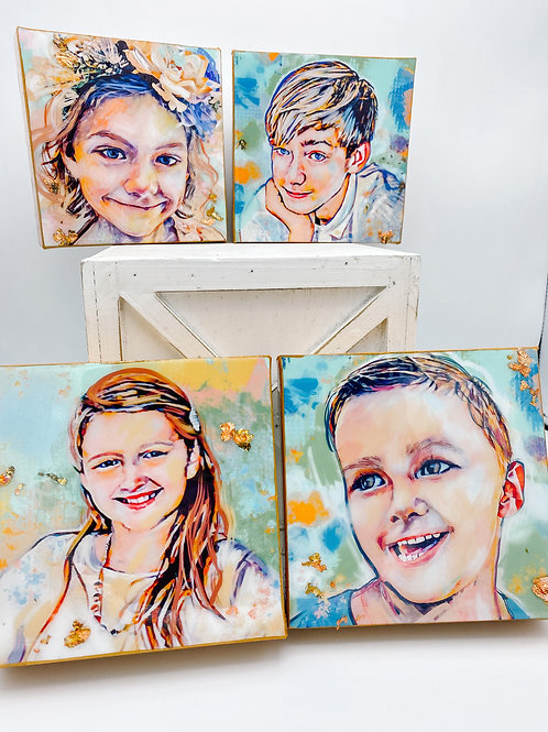 FLASH SALE CUSTOM SET OF FOUR 6 x 6 inch canvases