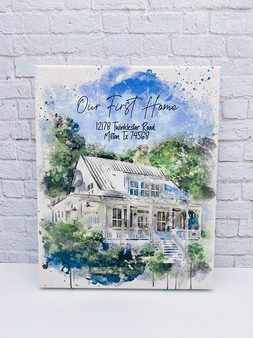 Watercolor House Print 8 x 10 canvas