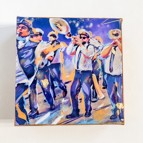 Brass Band at Midnight 6 x 6 inches