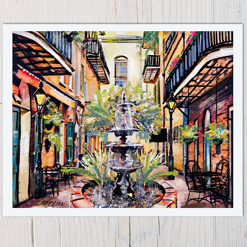 French Quarter Courtyard Paper Print 8x 10 inches and 16 x 20 inches