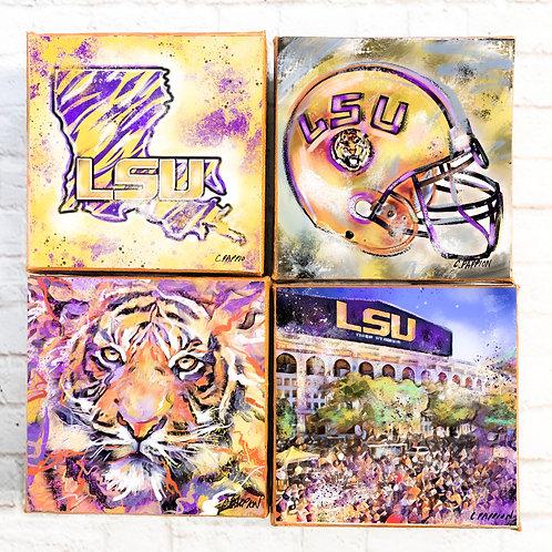 Set of Four LSU Art Mini 4 x 4 canvases