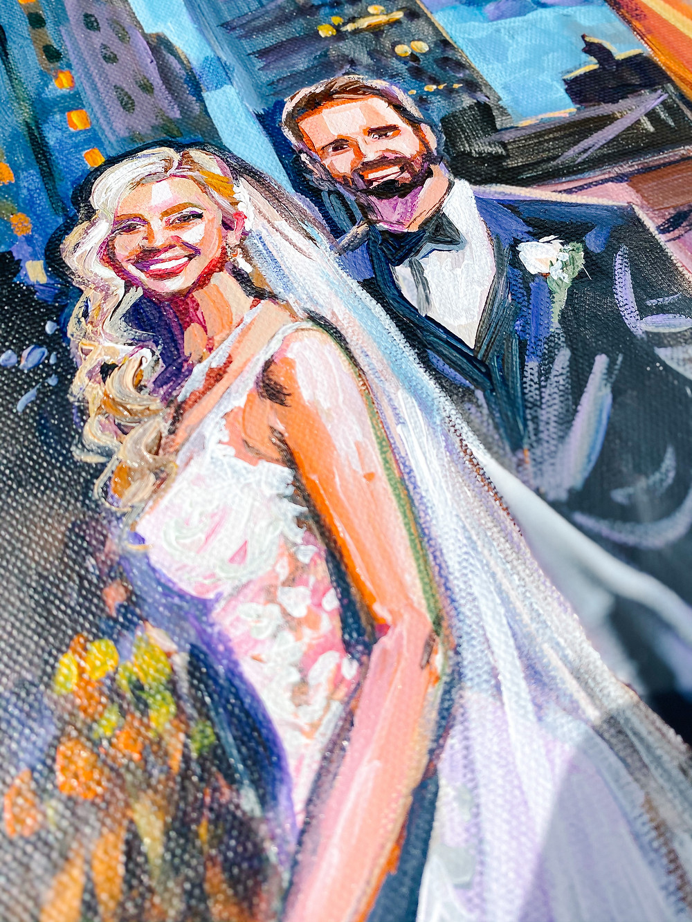 This is a closeup shot of a commission painting painted by Christina Pappion, New Orleans Artist.