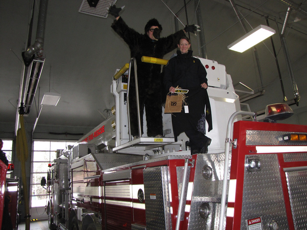 Berry the Bear gets a tour of the local fire hall.