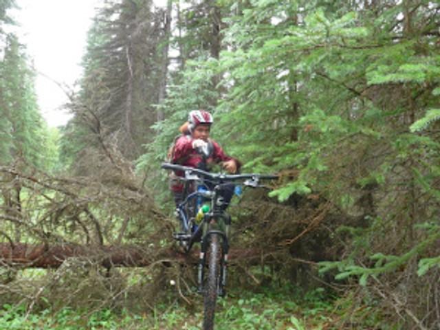 A little deadfall climbing with a mountain bike... yeah... that was fun!