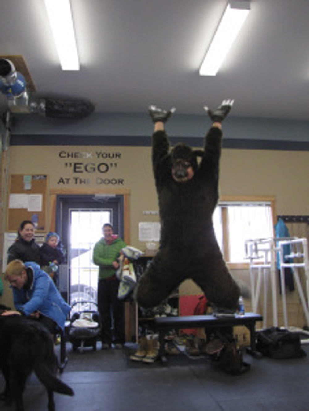 To acknowledge the businesses who contributed to the raffle and silent auction, I dressed up in a bear costume and ran around town taking pictures of Berry the Bear at that business. All pictures were shown at a slide show during the event. This is Berry at Crossfit.