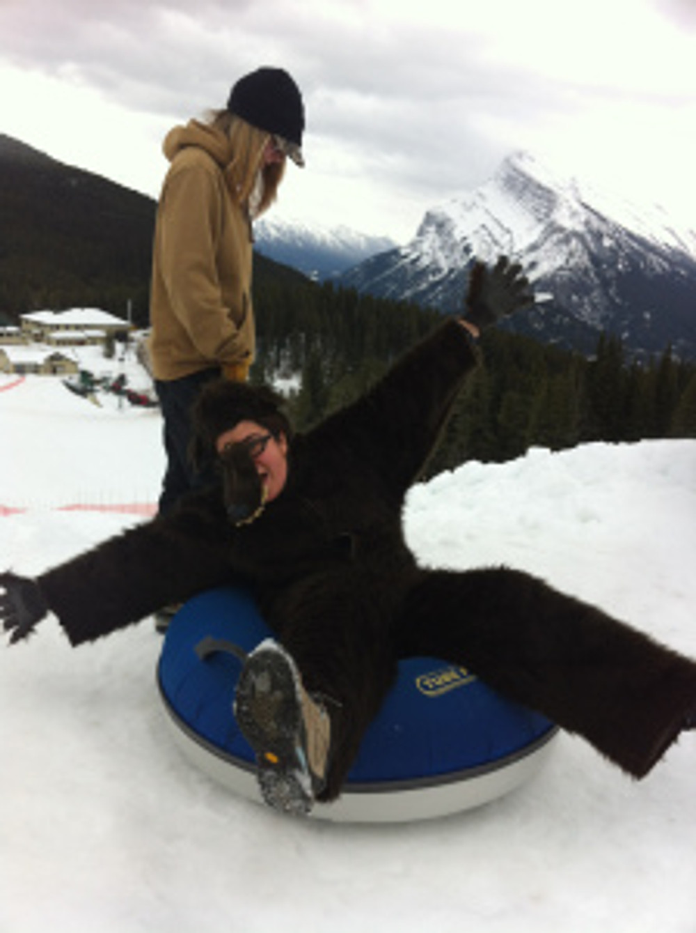 Berry the Bear went tubing at Mt Norquay on a busy Saturday afternoon. Some strange looks to say the least. But worth it!