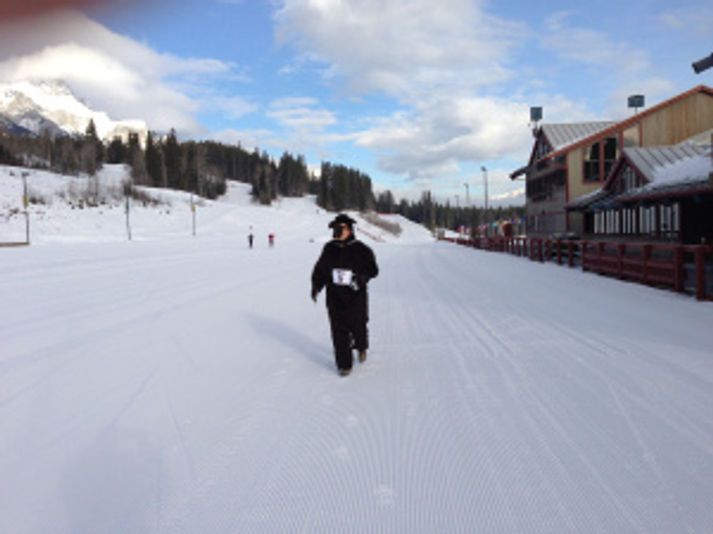 Berry went for a run and a ski up at the Nordic Centre too!