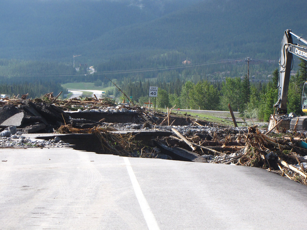 A hole in the Trans Canada Highway
