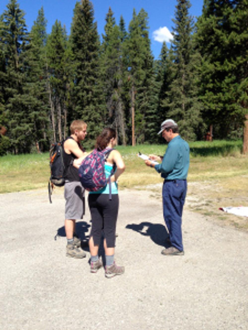 Conducting visitor surveys at the trailhead
