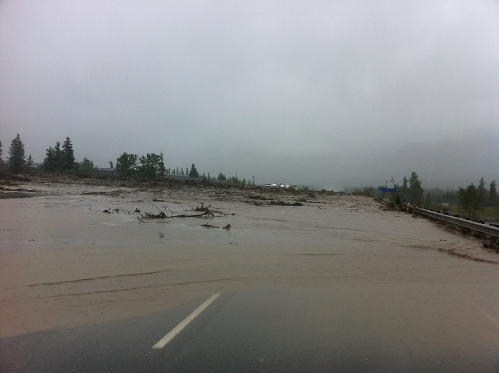 The Trans Canada Highway, several hours before peak flood levels.