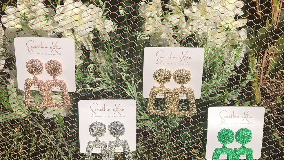 'Geo Babe' drop earrings