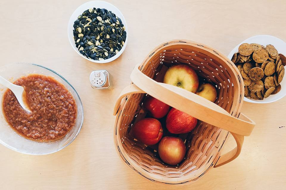 Homemade apple sauce snack table