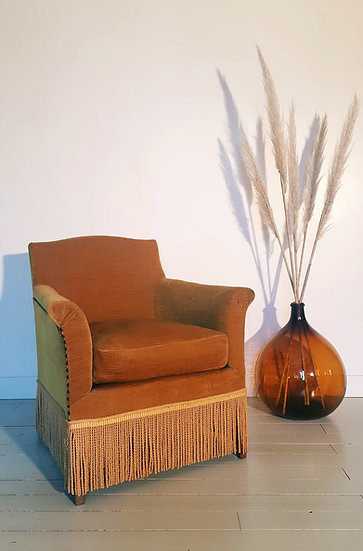 Fauteuil crapaud vieil or