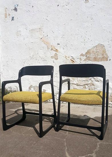 Paire de fauteuils Baumann revisités