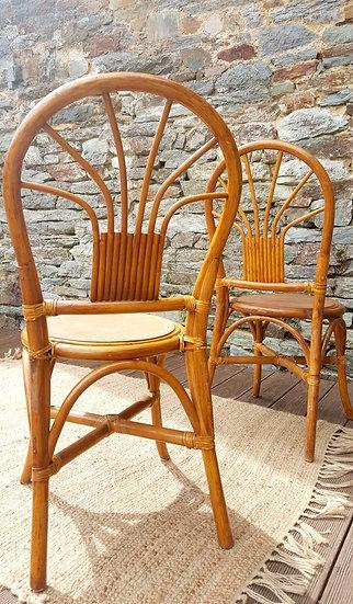 Paire de chaises Peacock en rotin