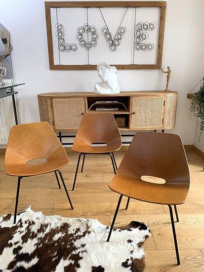 Ensemble de 3 chaises Tonneau Pierre Guariche
