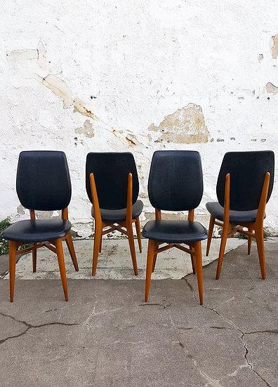 Série de 4 chaises en skaï