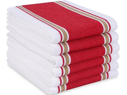 Cotton Clinic Euro Café 16x26 Kitchen Dish Tea Towels - 6 Pack