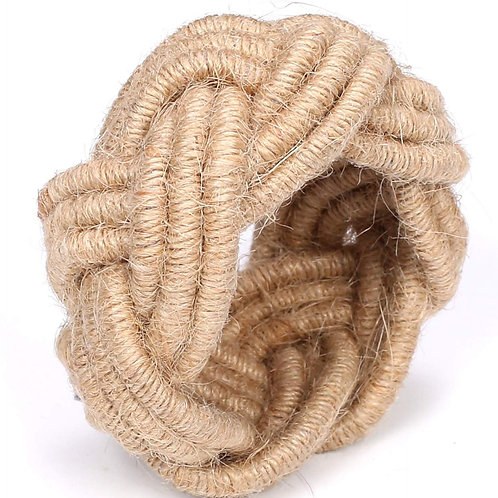 Cotton Clinic Braided Jute Burlap Napkin Ring Set
