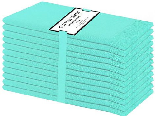 Cotton Clinic 20x20 Cloth Dinner Napkins with Fringes - Set of 12