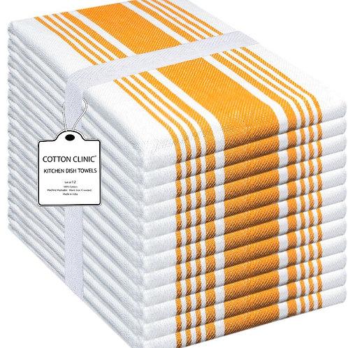 Cotton Clinic 12 Pack Big Stripe 16x26 Kitchen Dish Tea Towels