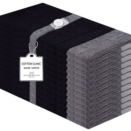 Cotton Clinic Double Hemstitch 20x20 Cloth Dinner Napkins - 12 Pack