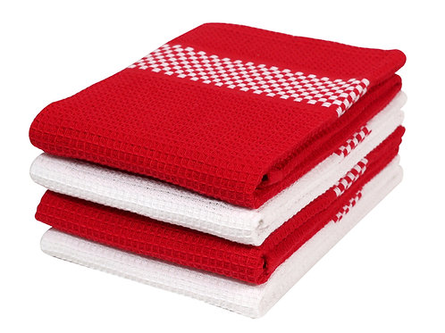Cotton Clinic Waffle 16x26 Kitchen Dish Tea Towels - 4 Pack