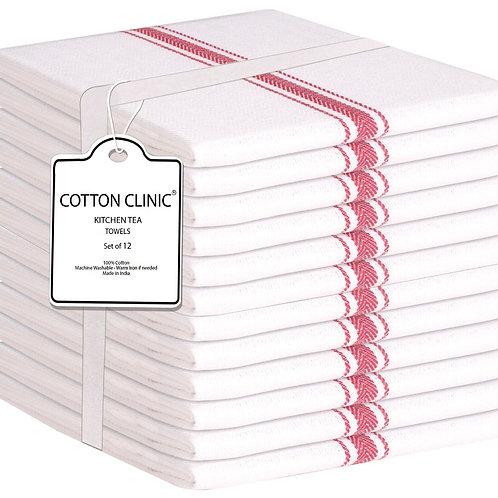 Cotton Clinic Scandia 16x26 Kitchen Dish Tea Towels - 12 Pack