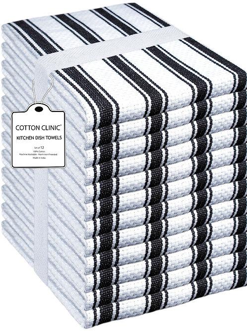 Cotton Clinic Set of 12 Basketweave 16x26 Kitchen Dish Tea Towels