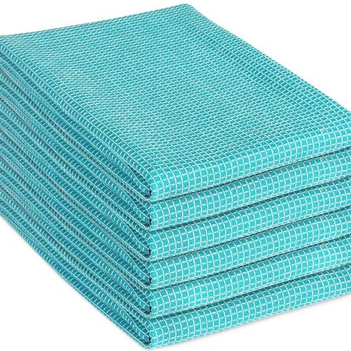 Cotton Clinic Two-Tone 18x28 Kitchen Dish Tea Towels - 6 Pack