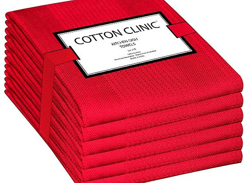 Cotton Clinic Waffle 16x28 Kitchen Dish Tea Towels - 6 Pack