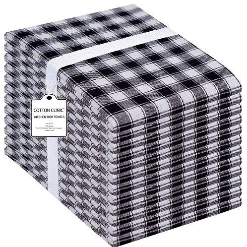 Cotton Clinic Set of 12 Gingham Buffalo Check 16x26 Kitchen Dish Tea Towels