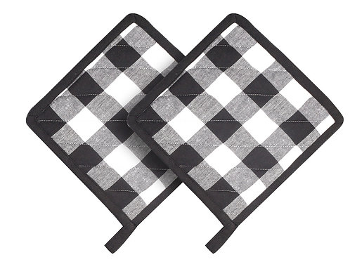Cotton Clinic Set of 2 Buffalo Check Oven Mitts Gloves