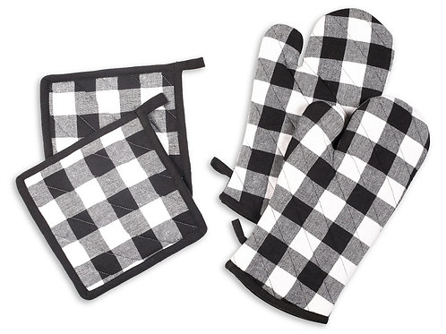 Cotton Clinic Buffalo Check Oven Mitts and Pot Holders Set Black - 4 Pack