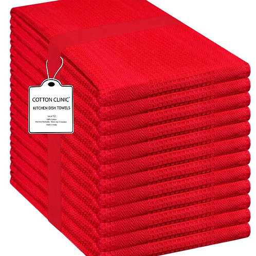 Cotton Clinic 12 Pack Waffle 16x28 Kitchen Dish Tea Towels