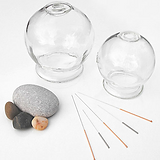 glass cups and acpuncture needles