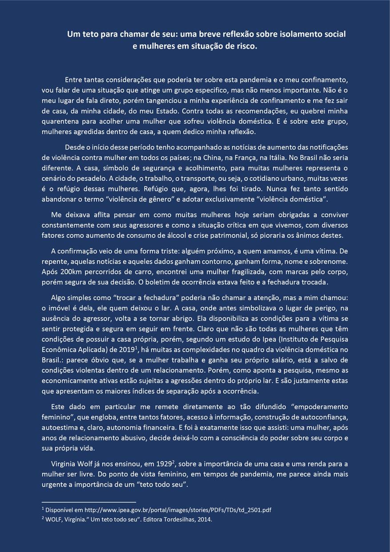 Um teto para chamar de seu: uma breve reflexão sobre isolamento social e mulheres em situação de risco, 2020