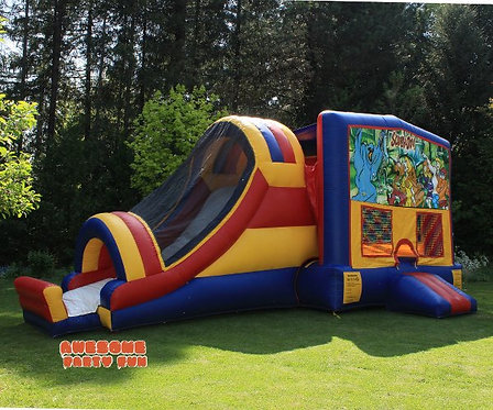 MODULAR COMBO 17' Bounce House w/Slide To Exterior