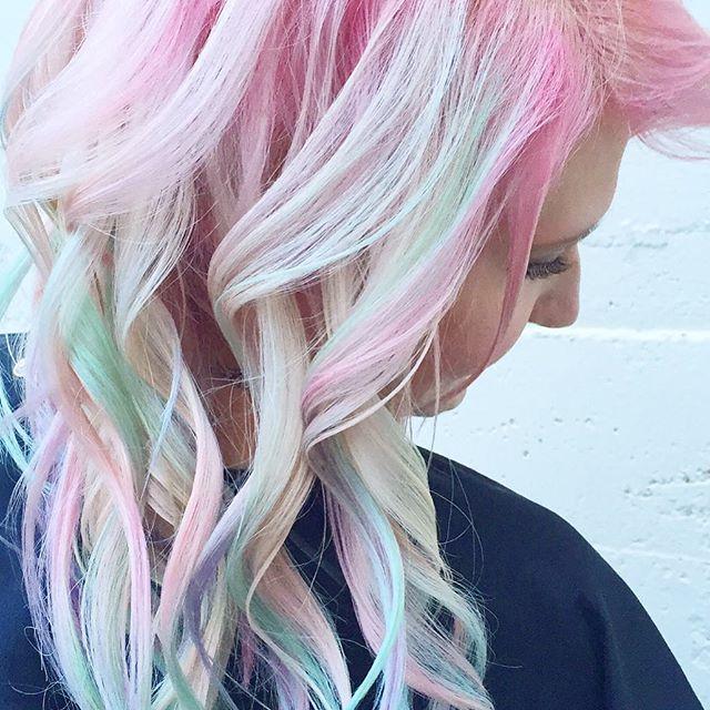 Pastel Heaven! Front View👼🏼 🍬🍥#opalhair #watercolorhair #pastelhair #pravana #randco #modernsalo