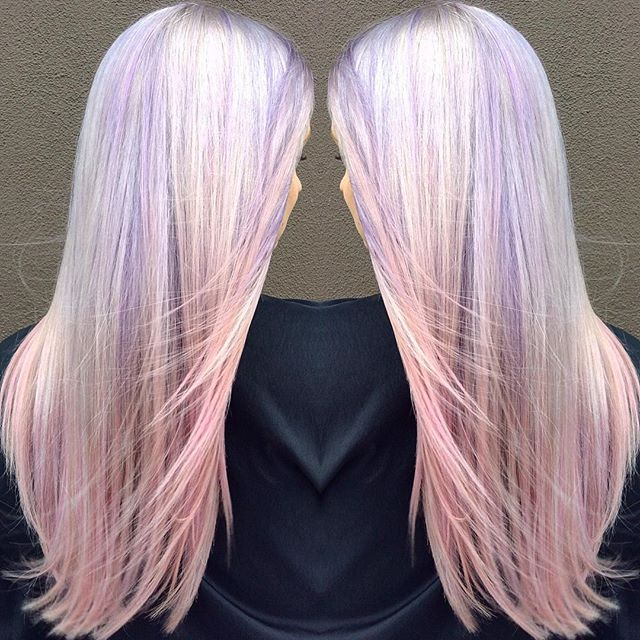 Lavender to Pink Melt. 💜💗Platinum accents gives this color a beautiful iridescence! By Gaby