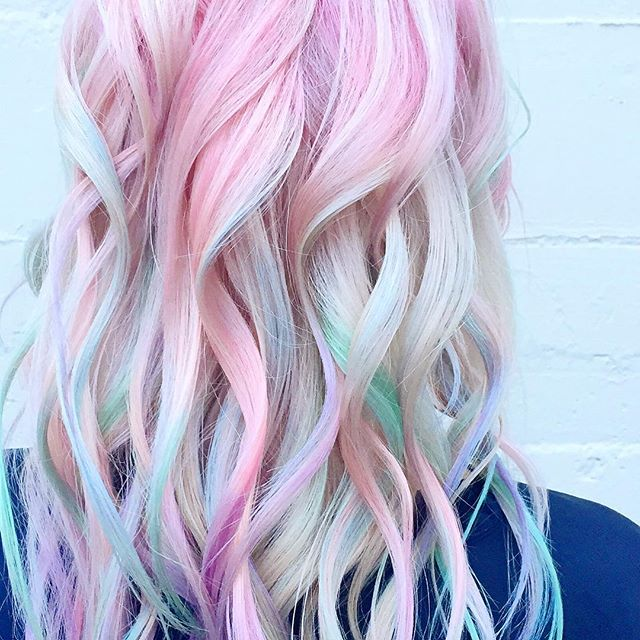 Pastel Heaven!👼🏼 🍬🍥#opalhair #watercolorhair #pastelhair #pravana #randco #modernsalon #behindth