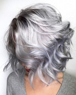 Silver Lob 🗡🗡🗡 Who would love to rock this look_ By Michael & Melody Using _pravana And treated w