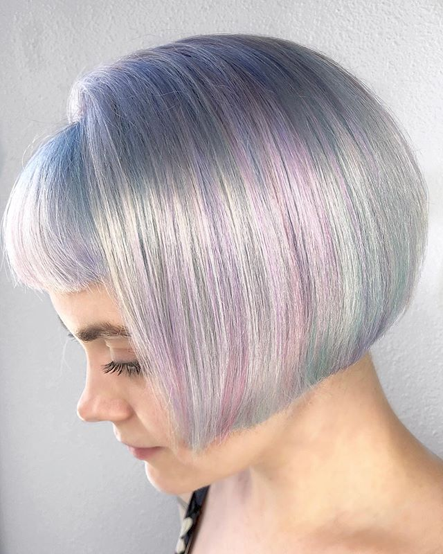 Opalescent Bob ⚪️ New Take On A Classic Shape.jpg By Melody & Michael Using _pravana Vivids, Treated