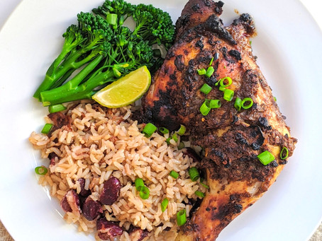 Jerk Chicken with Rice & Peas 🏝