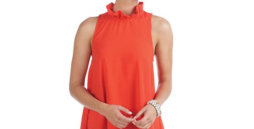 Eloise Ruffle Neck Bow Top in Orange